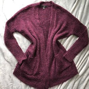 Purple Cardigan Chunky Knit Sweater